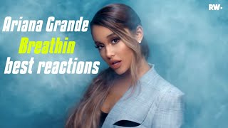 Best youtubers reactions to Ariana Grande breathin, music video🔥