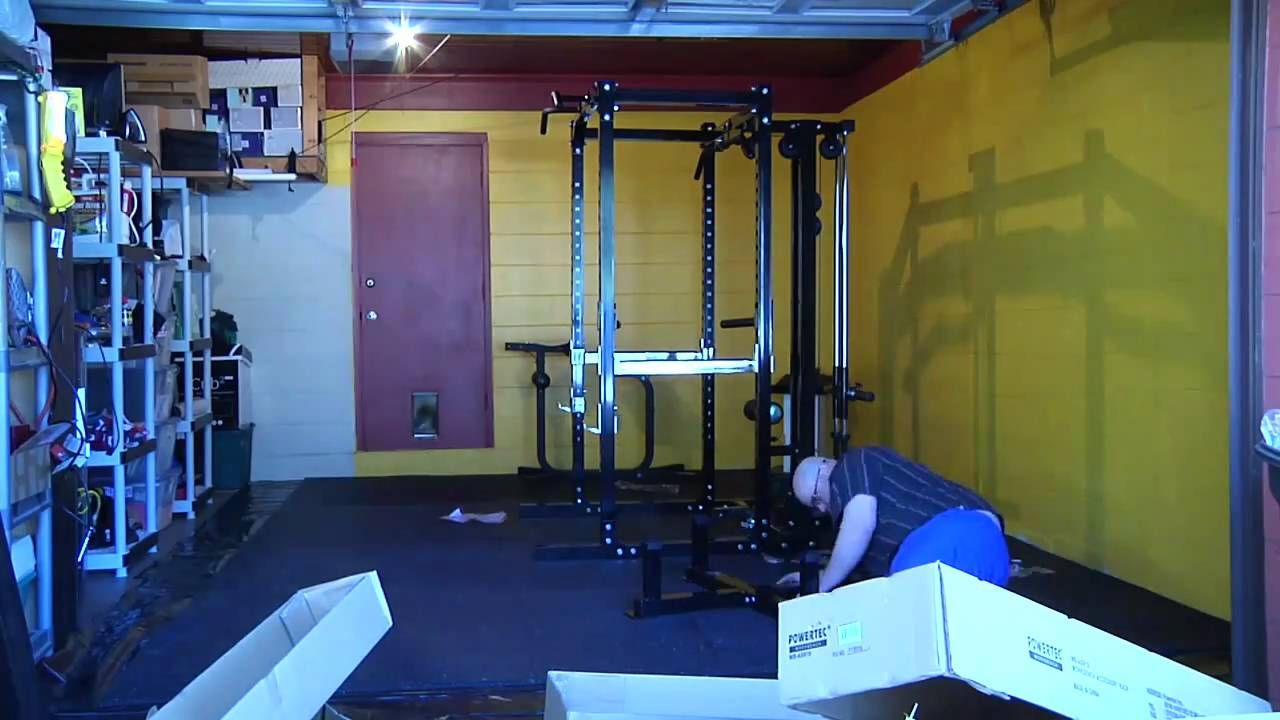 Setting up home gym with powertec power rack cage youtube