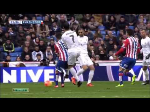 Cristiano Ronaldo kicks his Opponent (Real Madrid 5 x Sporting Gijón 1)
