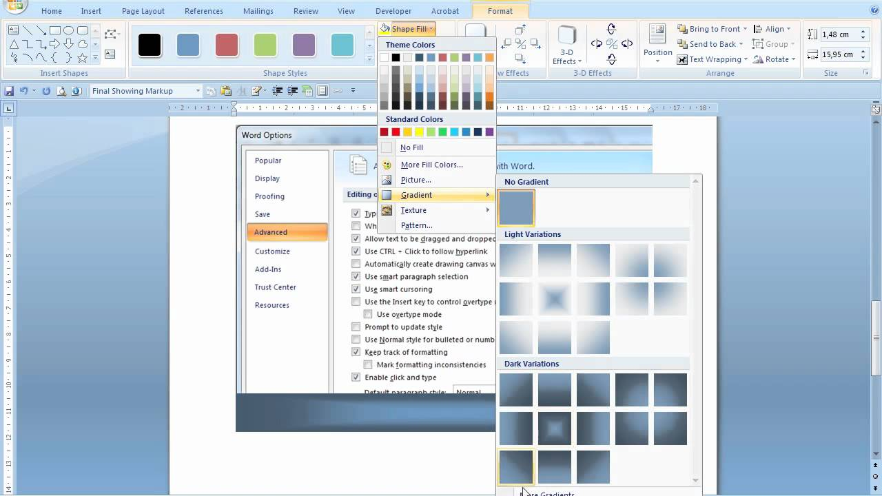 Adding Fade To Transparent Borders Ms Word 2007 Youtube