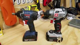 Bosch Brushed Impactor vs. Porter Cable Brushless 18v Impact Driver Lag Bolt Face Off