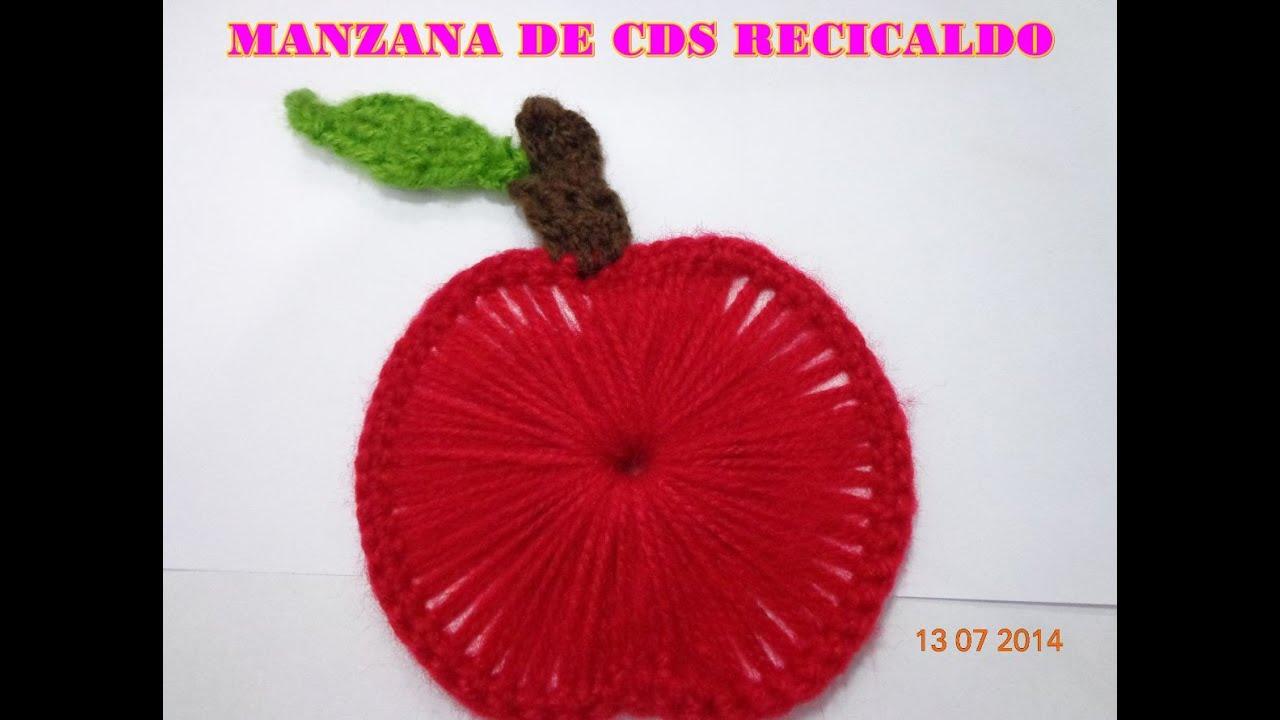 manzana de cds reciclado y tejido paso a paso   youtube