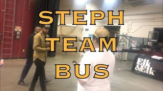 Steph Curry meets Cleveland cookie lady, wears 3 championship caps before boarding team bus