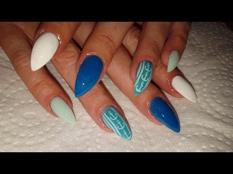 Marine Style Almond Shaped Acrylic Nail Design Youtube