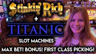 1st Class Picking on Titanic BONUS + Opening the Vault on Stinkin Rich Slot Machine!