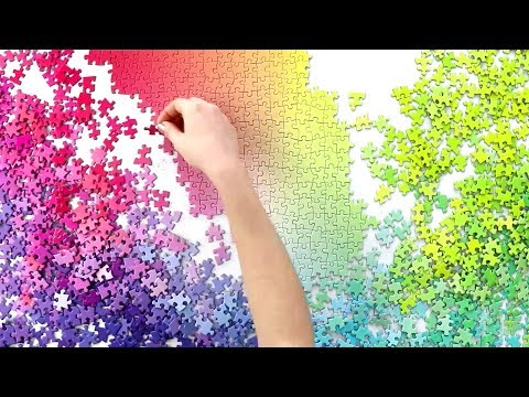 RAINBOW Jigsaw Puzzle Time Lapse - Oddly Satisfying - 1000 Pieces Gradient by Cloudberries