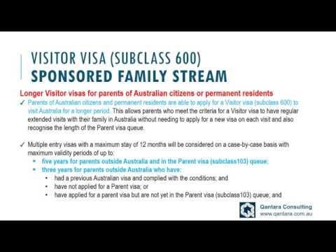Visitor visa subclass 600 - Longer Visitor Visa for Parents of Australian Residents