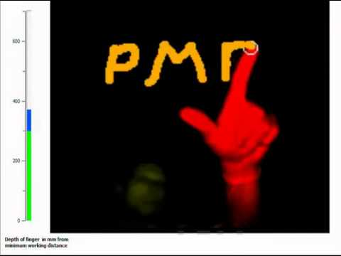 PMD[vision] CamBoard nano - finger tracking. Touchless writing with your finger