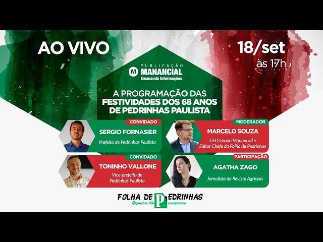 AO VIVO | A Programação das festividades dos 68 anos de Pedrinhas Paulista
