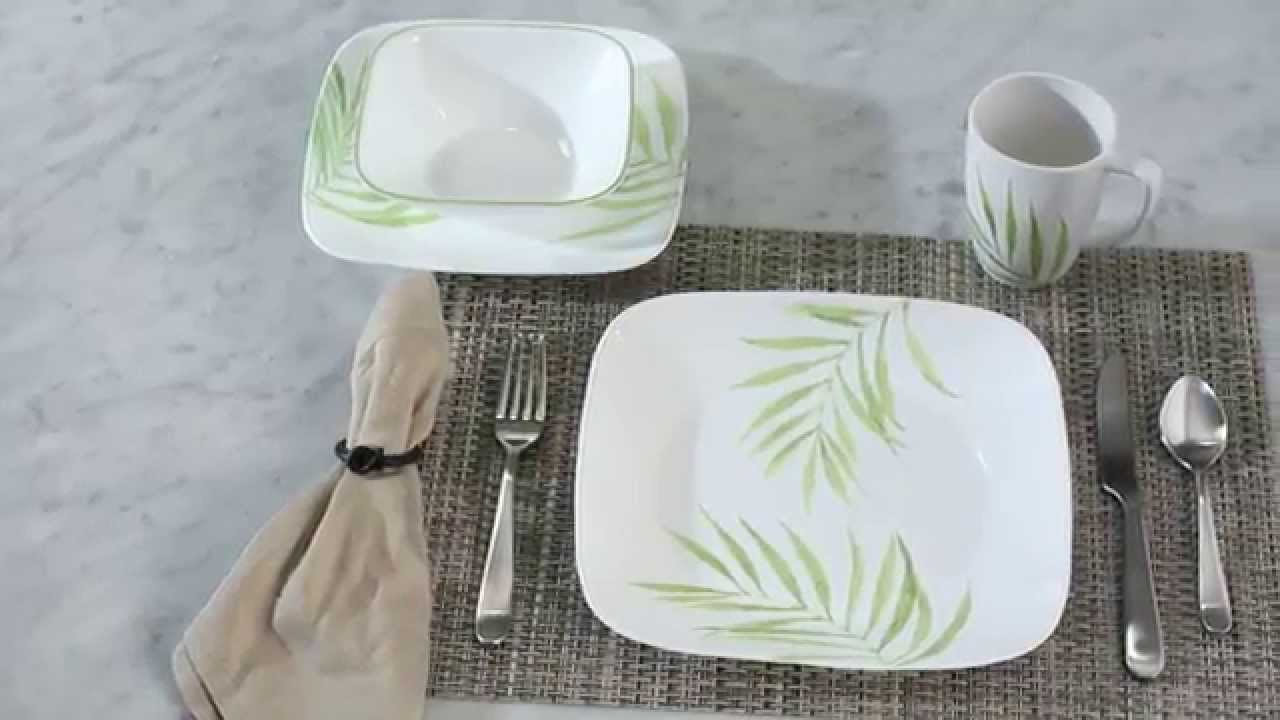 Corelle - Square Bamboo Leaf 16 Piece Dinnerware Set - YouTube
