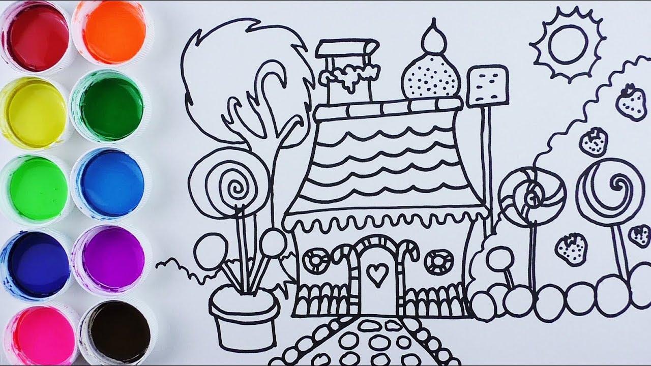 Dibujos De Casas Para Colorear Para Ninos: Cómo Dibujar Y Colorear Casa De Caramelos