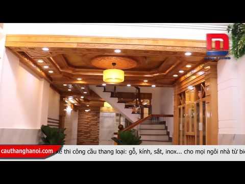 Cầu thang kính - Cầu thang kính tay vịn gỗ thi công và lắp đặt tại Quế Võ Bắc Ninh