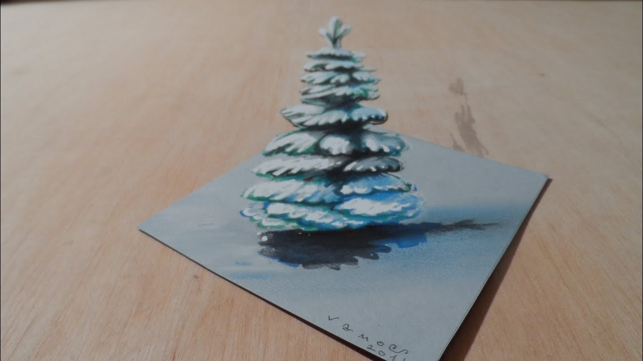 Drawing Christmas Tree How To Draw 3d Snowy Pine Illusion 3d