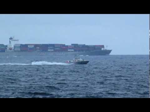 Hellenic Coast Guard patrolling in Aegean Sea. HD video
