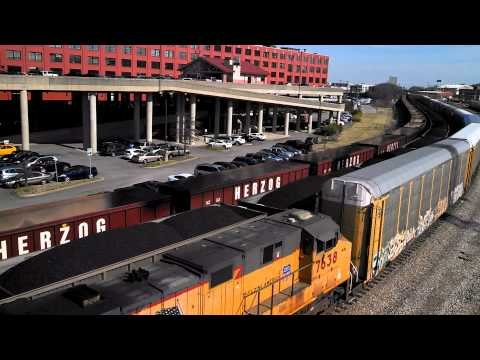Union Pacific Automobile Carrier Freight Train in Nashville Tennessee.