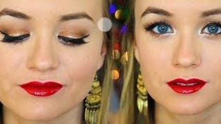 Glamorous Red & Gold Christmas Makeup
