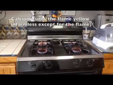 Propane camp stove yellow flame