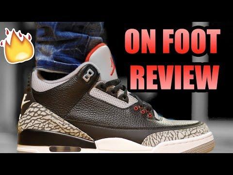 JORDAN RETRO 3 BLACK CEMENT REVIEW ! | OG Black Cement 3 On Foot Review !