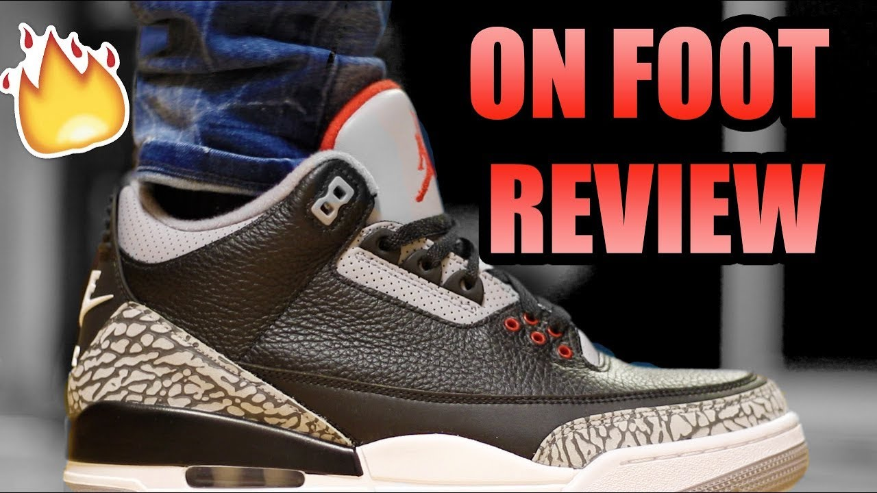 hot sale online 16167 5ff6d JORDAN RETRO 3 BLACK CEMENT REVIEW ! | OG Black Cement 3 On Foot Review !