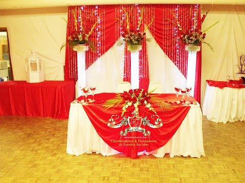 Faos events decoracion color rojo youtube for Arreglos de mesa para boda en jardin