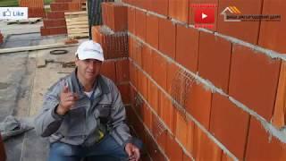 Перевязка кладки керамических блоков и стены облицовочного кирпича, строительство дома из porotherm