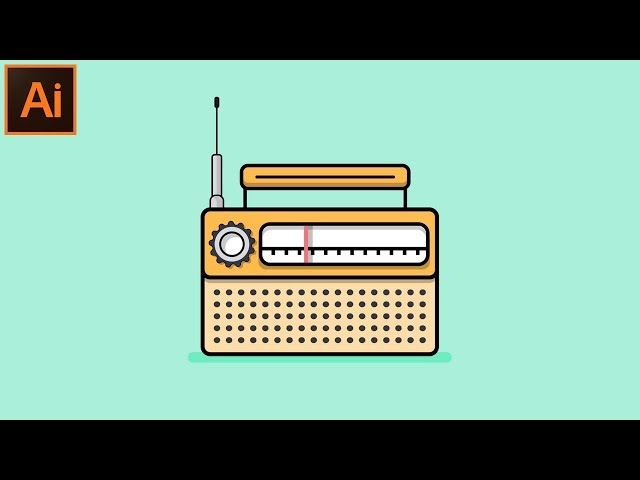How to Make a Beautiful Looking Flat Outline Radio Illustration in Adobe Illustrator CC