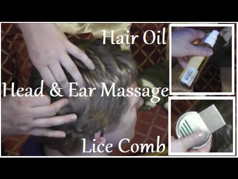 ASMR Indian Head and Ear Oil Massage + Lice Check (Soft Spoken)