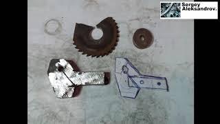 Самодельный подпружиненный отрезной резец из фрезы. Токарный MX-210D/S.