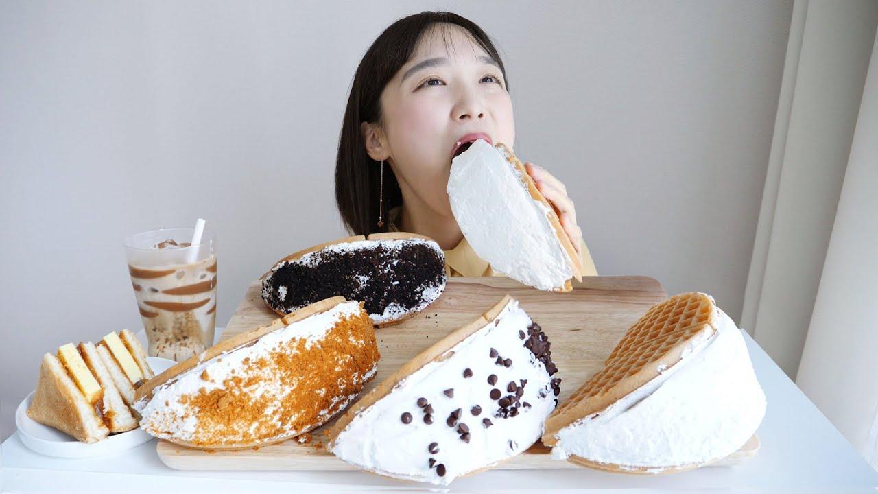 우유 생크림 와플 먹방 _ 카페천국 와플☁생크림파워 충전하기 :D