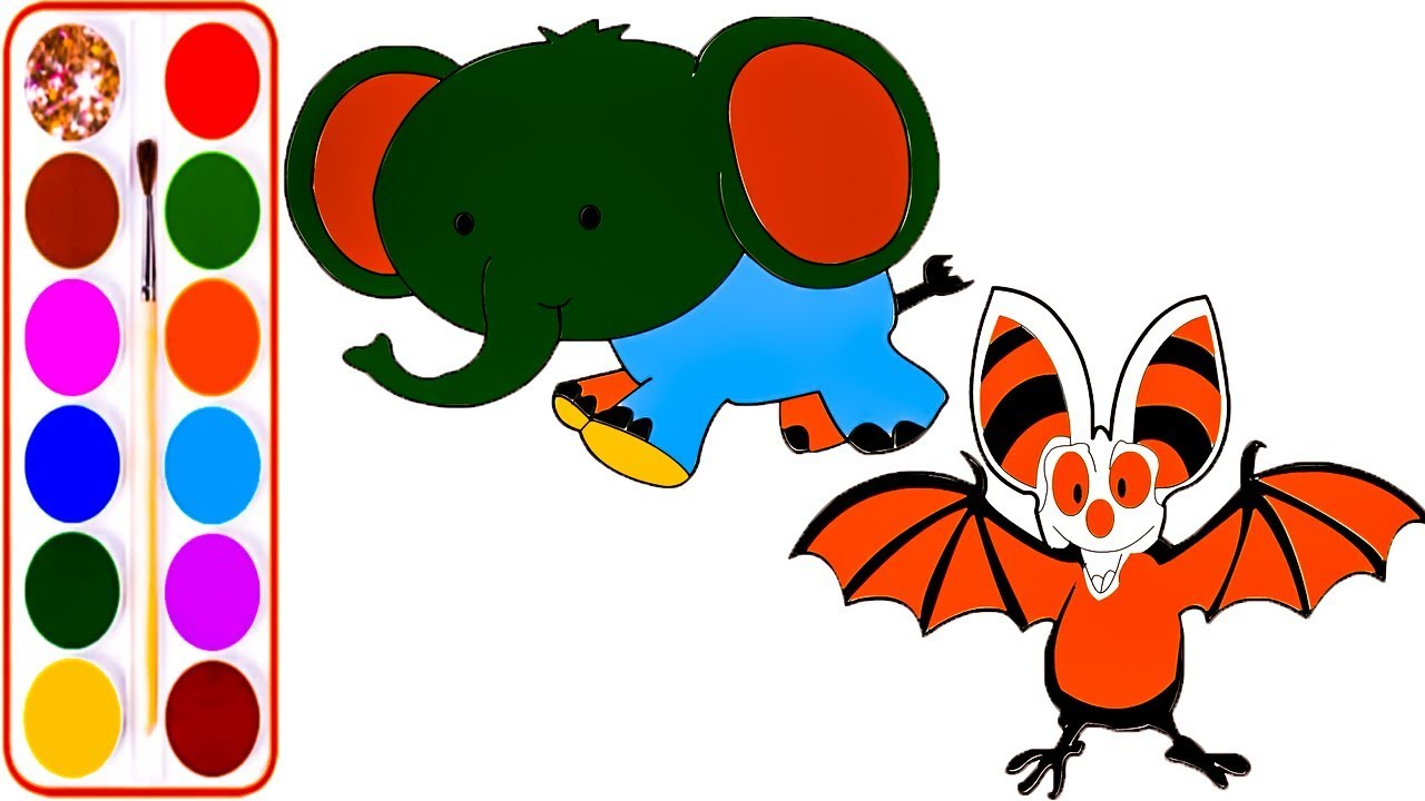 Learn Coloring Book ElephantBatPeacockDragon Face RaiyanToysMakerFun With Kids