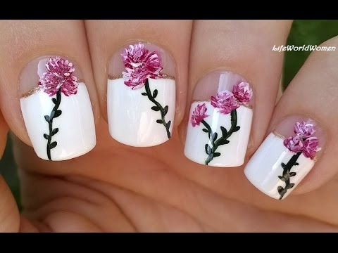 elegant floral nail art over wide