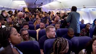 "Kanye West Performs ""Jesus Walks"" With James Corden On Airplane"