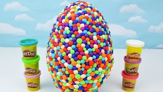 Kids Play Doh & Rainbow Dots Giant Surprise Egg filled with candy & surprises