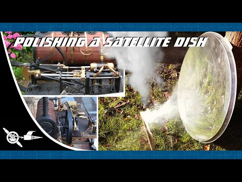 Polishing a satellite dish into a parabolic mirror to power my steam engine