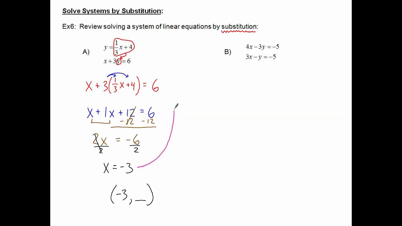 Solving Systems Of Equations Review