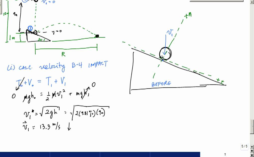 cons of energy oblique impact projectile motion example