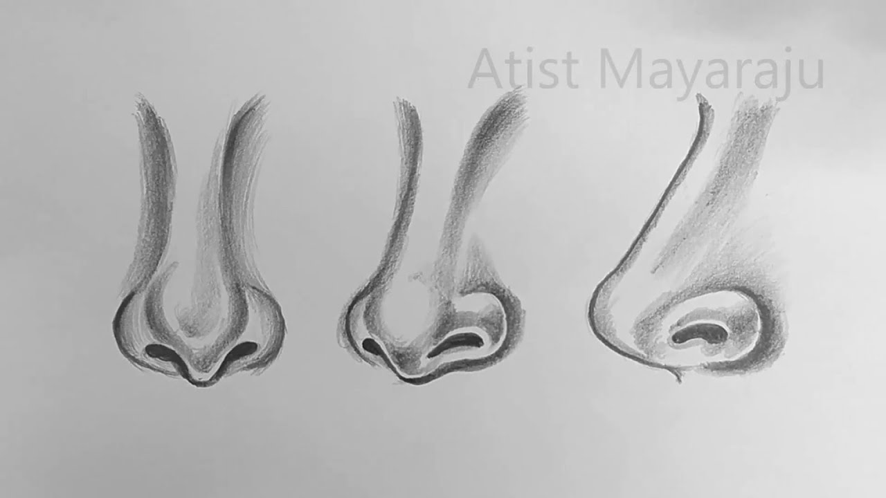 how to drawing Female Nose Face Drawing step by step for beginners / Beautiful Nose Sketch #Nose