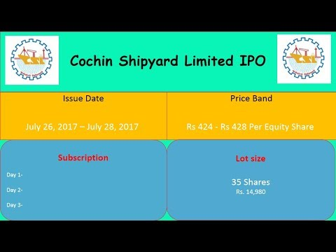 Cochin Shipyard Limited IPO Detail | IPO Open 1-3 August 2017 | Day 2 - 3.16 times | Must Apply