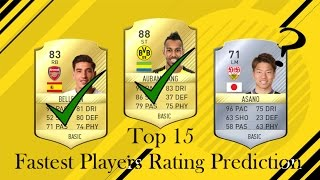 Top 15 fastest players in fifa 18! [rating prediction]