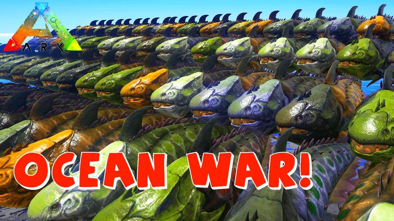 OCEAN WAR! | ARK 100 Dunkleosteus VS 100 Megalodon | Dunky VS Megalodon