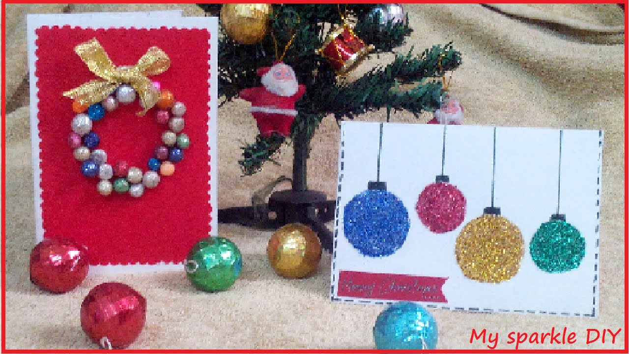 DIY Christmas Cards..(Ornaments and Wearth) easy Holiday 12 - YouTube