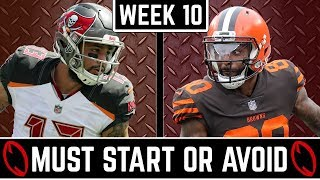 Must Start and Avoid - Wide Receiver - 2019 Fantasy Football (Week 10)