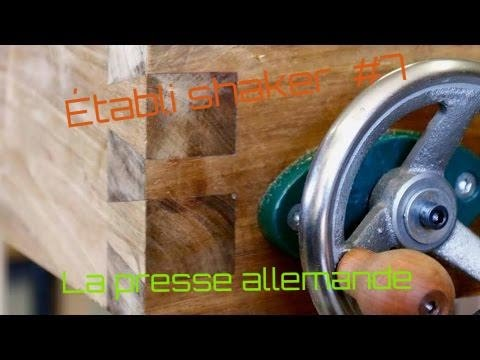 Un établi  shaker, fabrication de la presse allemande / wood workbench DIY trail vis #7