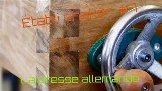 Un établi  shaker, fabrication de la presse allemande / wood workbench DIY trail vis #7