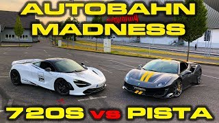 200 MPH AUTOBAHN MADNESS * Ferrari Pista vs McLaren 720S Roll Racing & Performance Testing