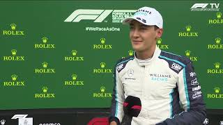 George Russell interview after qualifying P2 in Belgium, Spa