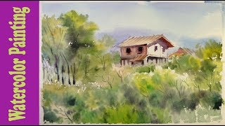Watercolor Painting : The house hidden in the forest