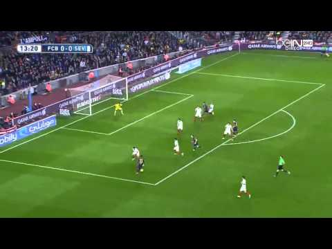 Fc Barcelona vs Sevilla first half messi free kick goal