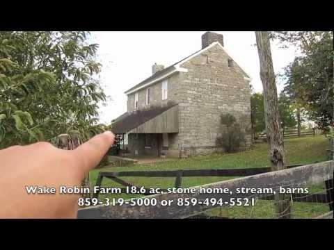 Artist Retreat, Wake Robin - 1801 Stone house, 18 ac, creek, horse property for sale in Kentucky