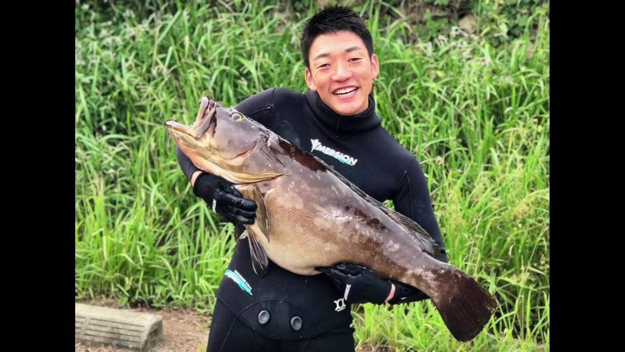 魚突きで巨大クエに挑む 90cm 10kg